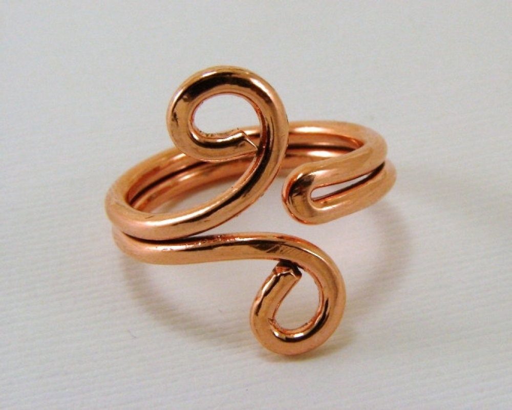 red brass and copper Tangled wire ring made of sterling silver