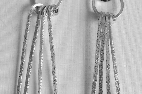 Sterling Silver Textured Long Strands Earrings