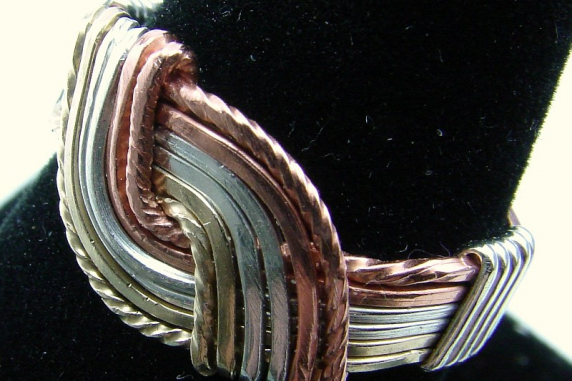 Tri Metal Hug Ring (Sterling  Silver, Copper, and Gold filled)