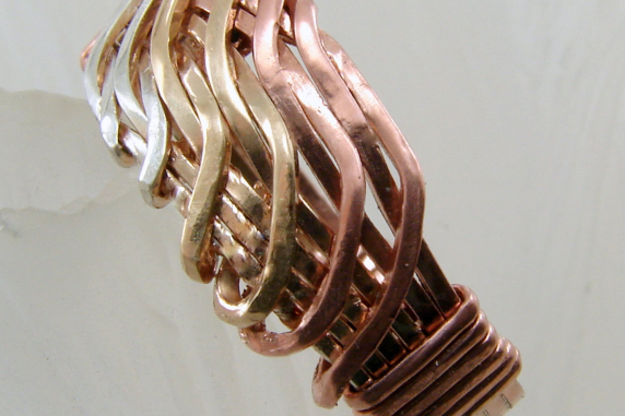 Tri-Metal Wave Ring (Sterling, Goldfill, Copper) Any size up to size 10