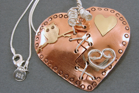 Broken Mended Mixed Metal Puffed Heart Pendant Necklace