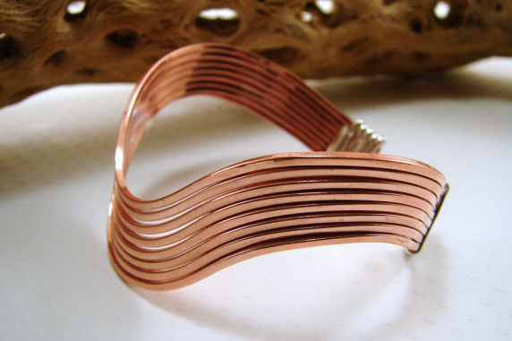 Copper and Sterling Silver Wavy Bracelet