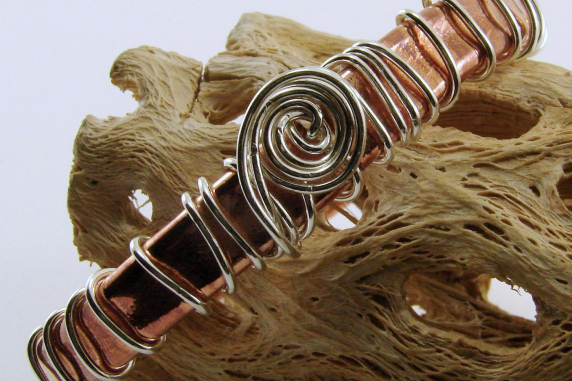 Copper Tubing and Sterling Silver Bangle/Bracelet