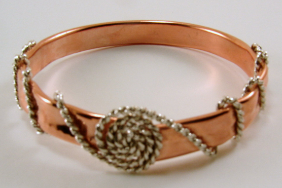 Copper Tubing and Sterling Silver Bangle  Bracelet - Various Sizes