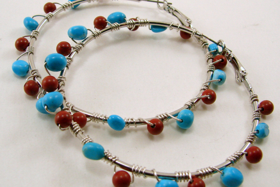 Turquoise & Coral Hoop Wire Wrapped  Earrings