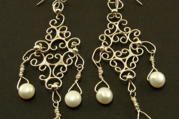 Sterling Silver Filigree and Pearl Earrings