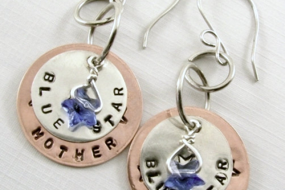 Blue Star Mother Sterling Silver And Copper Earrings