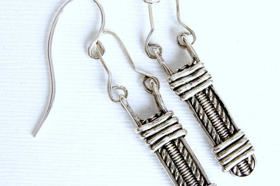 Sterling Silver Pattern  Wire wrapped Earrings