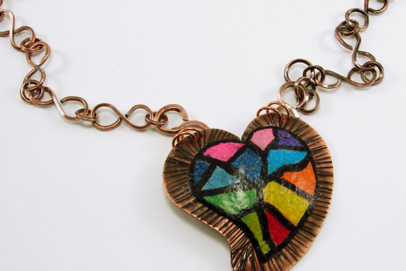 Colored Pencil on Copper Rainbow Mosiac Heart Pendant and Handmade Chain Necklac