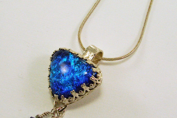 Dichroic Glass set in Sterling Silver and Fine Silver Pendant Necklace
