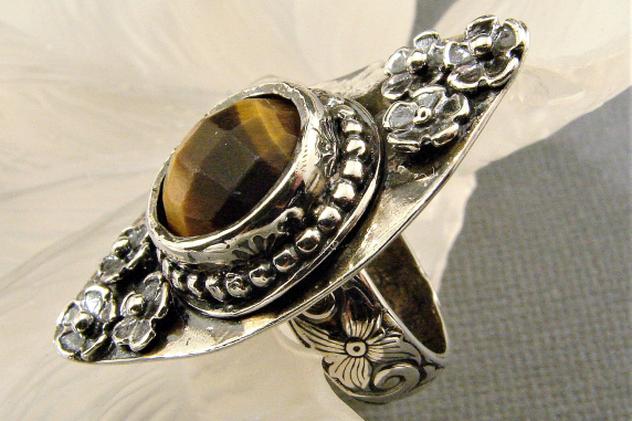 Sterling Silver and Tigers Eye Ring Size 7