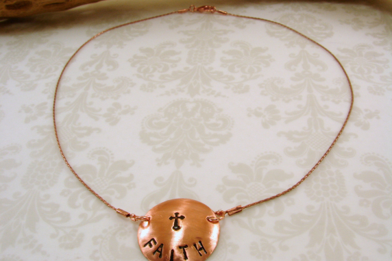 "Copper Domed Disk """"Faith"" Pendant Necklace"