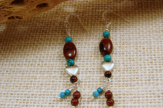 Turquoise and Mahogany Obsidian Earrings