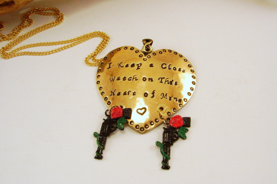 """Heart Pendant Necklace Hand Stamped """"I keep a close watch on this heart of Mine"""""""