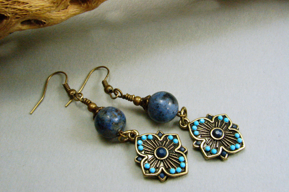 Antique Brass and Sunset Dumortierite Earrings Active