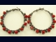 Gunmetal and Swarovski Red Coral Crystal Hoop Earrings