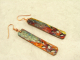 Copper Bar Flame Painted Earrings
