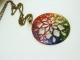 Rainbow Inked Hand Cut Fret Design Pendant Necklace
