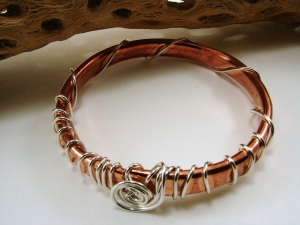 Copper Tubing and Sterling Silver Bangle/Bracelet
