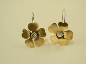 Red Brass and Sterling Silver Flower Earrings