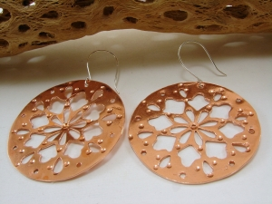 Copper or Red Brass and Sterling Silver Fretwork Earrings