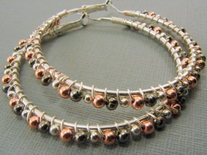 Tri-metal Beaded Wire Wrapped Hoop Earrings