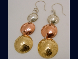 Mixed Metal - Sterling Silver, Copper and Red Brass Textured Disk Earrings