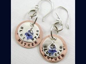 Blue Star Mother Copper and Sterling Silver with Crystal Blue Star Earrings