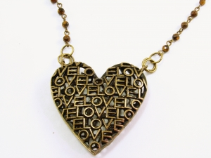 Antique Brass Metal Love Heart Pendant with Antique Brass and Tiger Eye Chain Ne