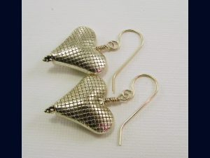 Sterling Silver Puffed Heart Earrings