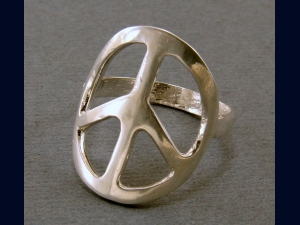 Sterling Silver Handcrafted Peace Sign Ring - Any size