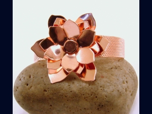 Copper Chrysanthemum Flower Bracelet Cuff
