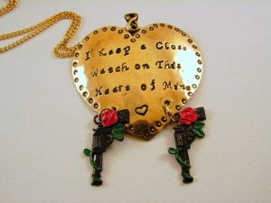 "Heart Pendant Necklace Hand Stamped ""I keep a close watch on this heart of Mine"""