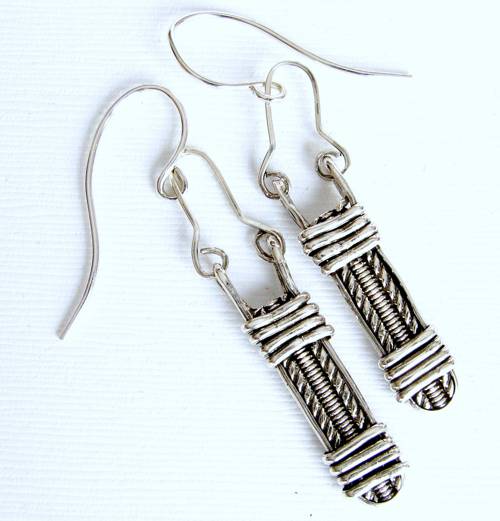 Silver Pattern Wire | Sterling Silver Pattern Wire Wrapped Earrings Second Nature Designs