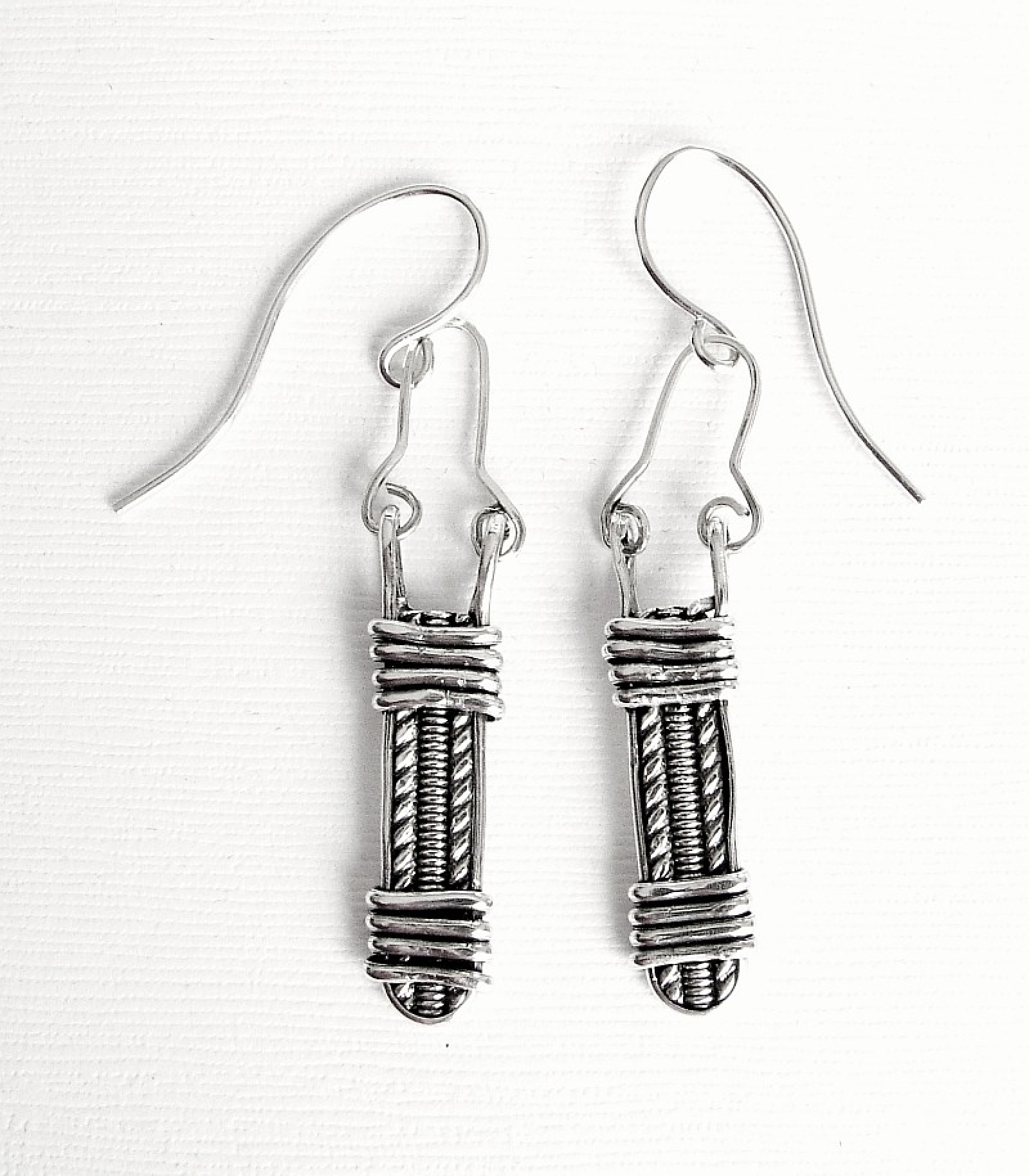 Sterling Silver Pattern Wire wrapped Earrings | Second Nature Designs