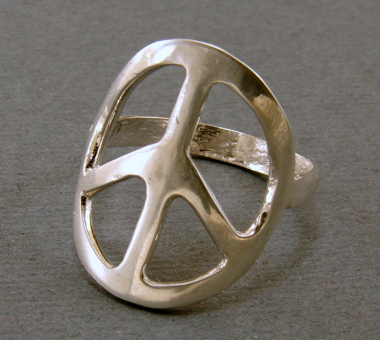 Sterling Silver Handcrafted Peace Sign Ring Any Size Second