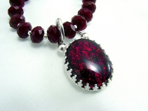 Ruby Quartz, Dichroic Glass and Sterling Silver