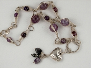 Sterling Silver Heart and Beaded Necklace