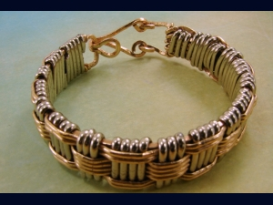 Men's Hand Woven SIlver and Brass Bracelet